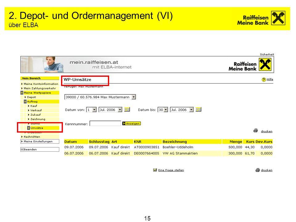 2. Depot- und Ordermanagement (VI) über ELBA