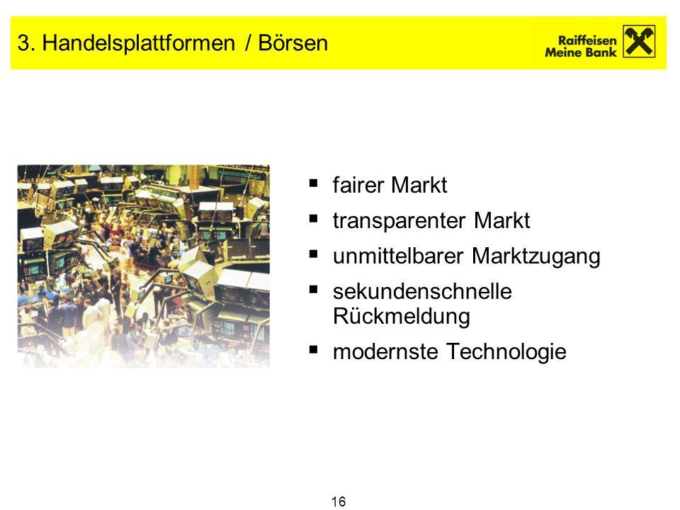 3. Handelsplattformen / Börsen