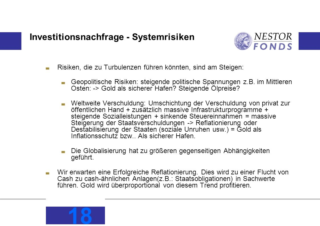 Investitionsnachfrage - Systemrisiken