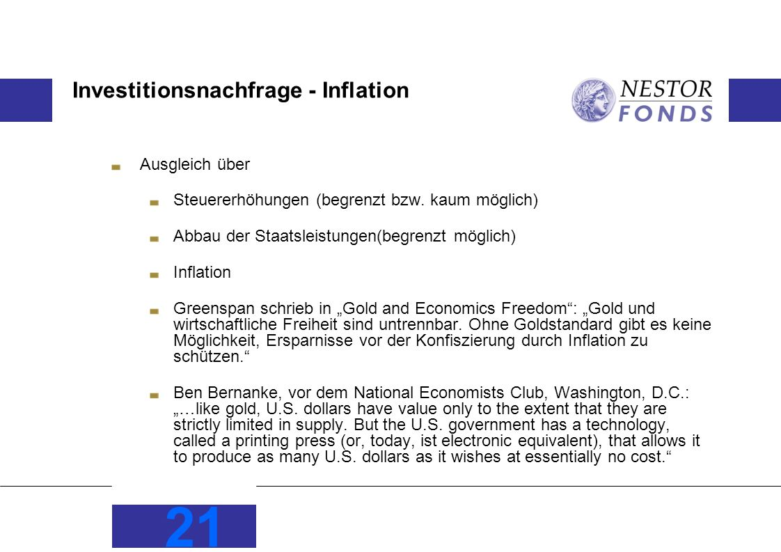 Investitionsnachfrage - Inflation