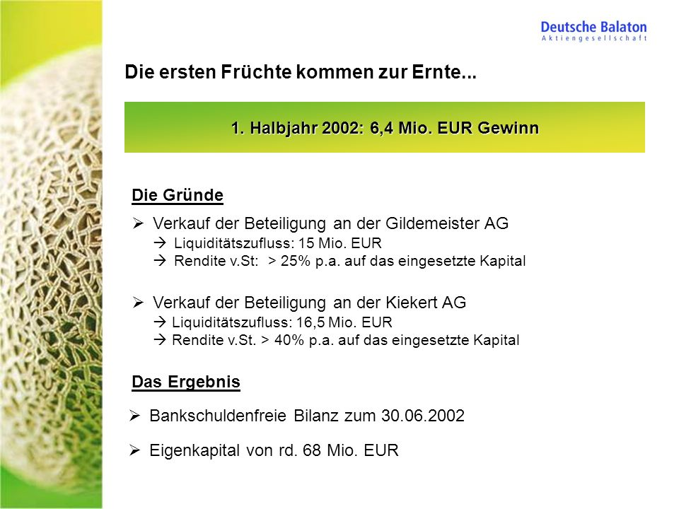1. Halbjahr 2002: 6,4 Mio. EUR Gewinn