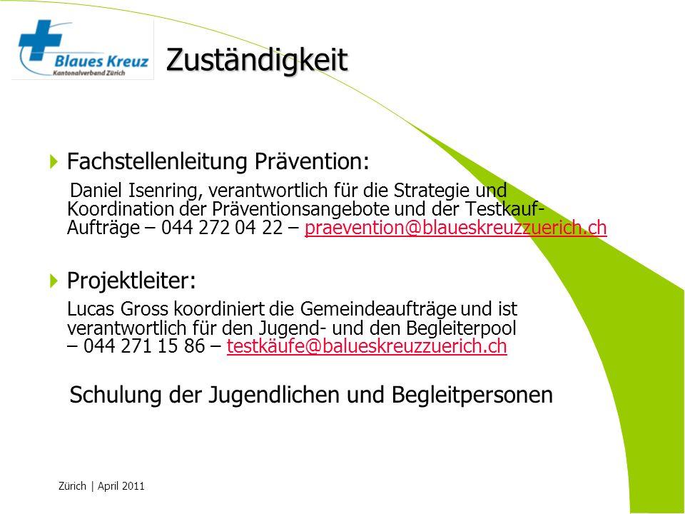 Zuständigkeit Fachstellenleitung Prävention: