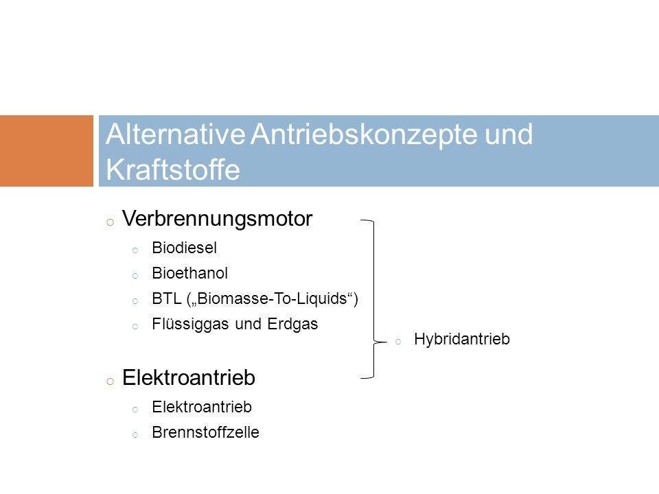 Alternative Antriebskonzepte und Kraftstoffe
