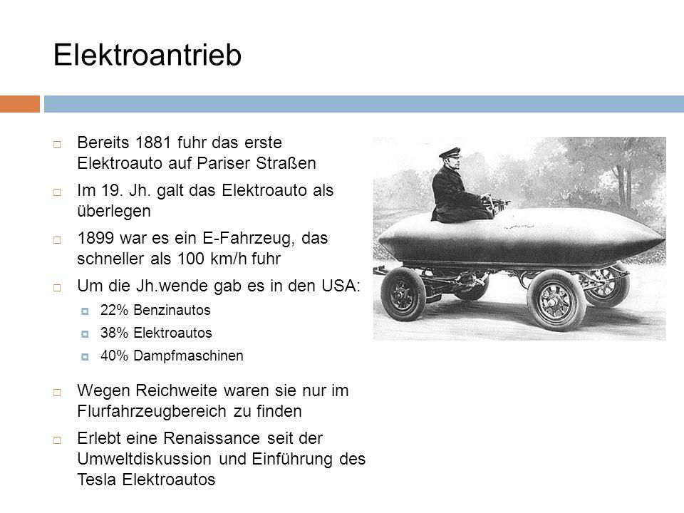 Elektroantrieb Bereits 1881 fuhr das erste Elektroauto auf Pariser Straßen. Im 19. Jh. galt das Elektroauto als überlegen.
