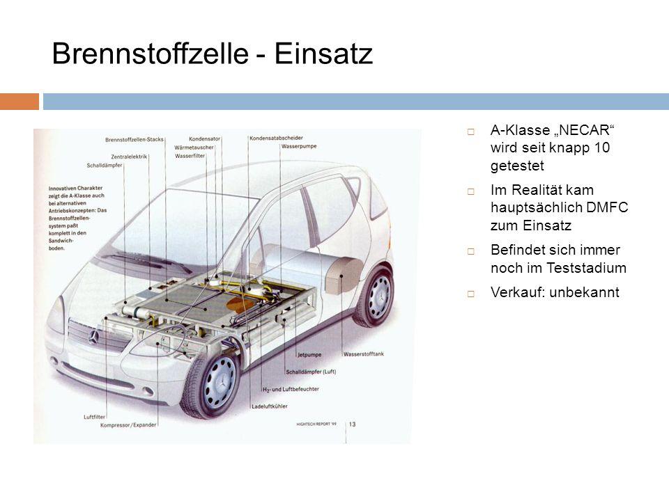 Brennstoffzelle - Einsatz
