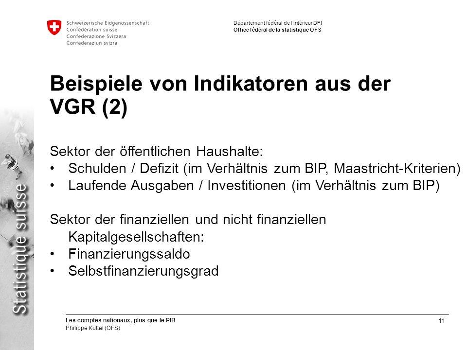Beispiele von Indikatoren aus der VGR (2)