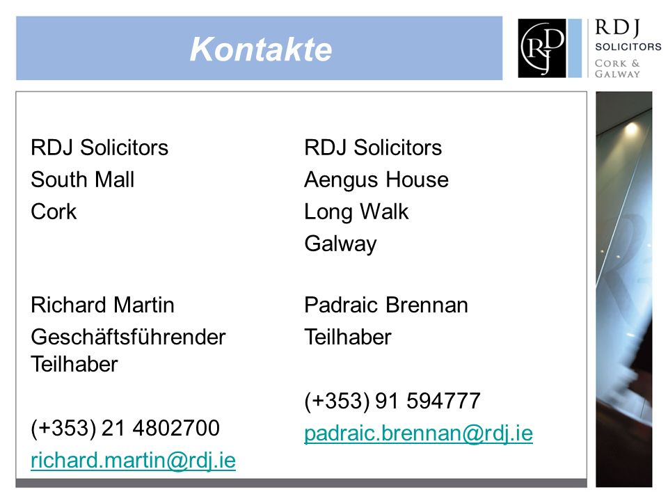 Kontakte RDJ Solicitors South Mall Cork Aengus House Long Walk Galway