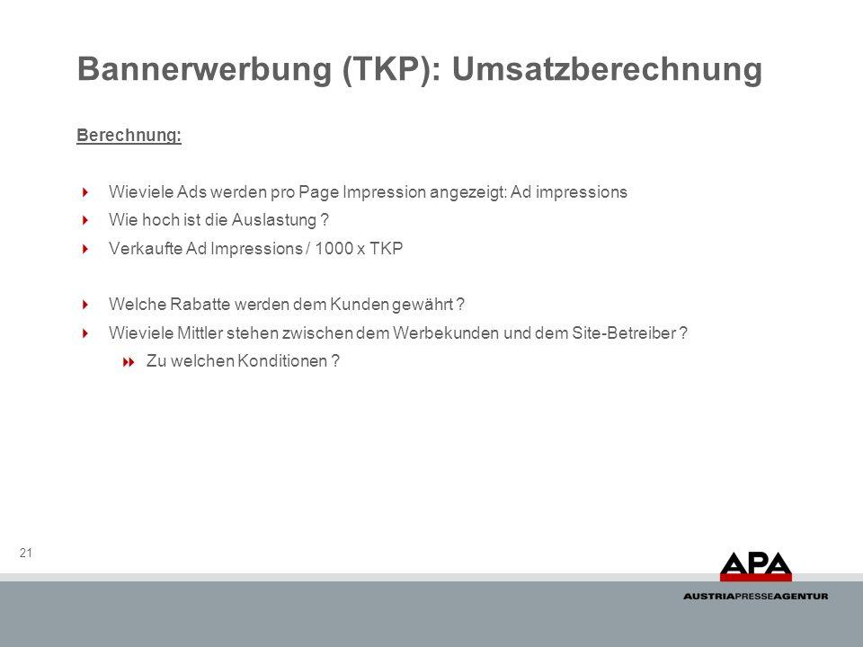 Bannerwerbung (TKP): Umsatzberechnung