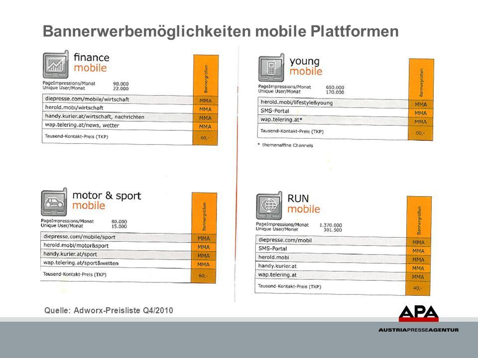 Bannerwerbemöglichkeiten mobile Plattformen