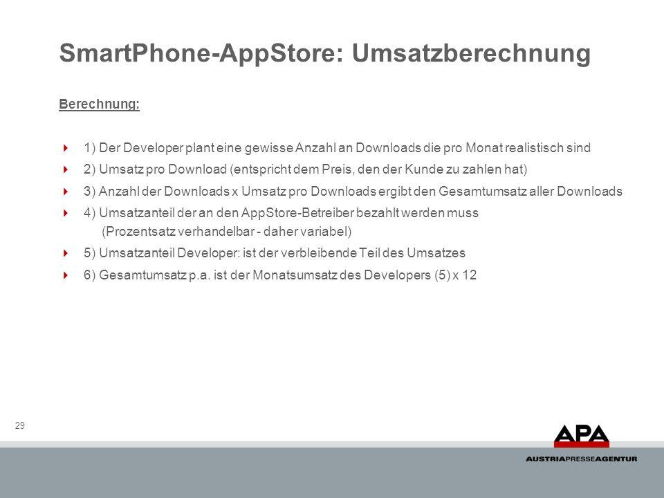SmartPhone-AppStore: Umsatzberechnung