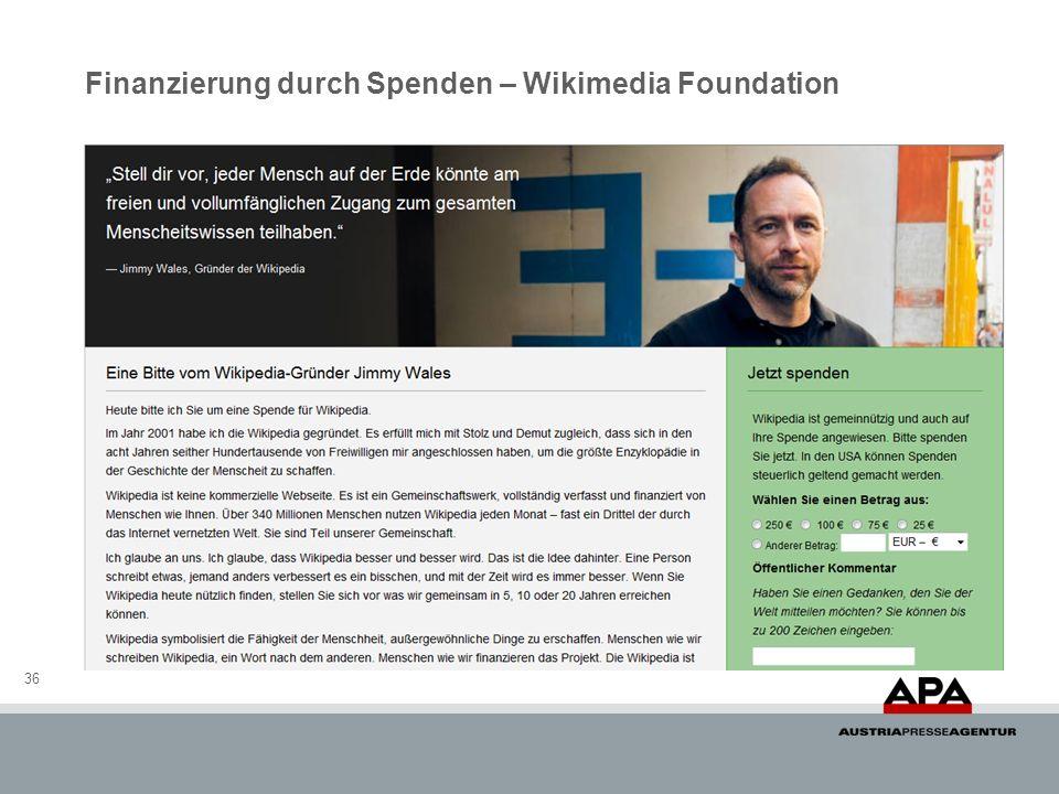 Finanzierung durch Spenden – Wikimedia Foundation