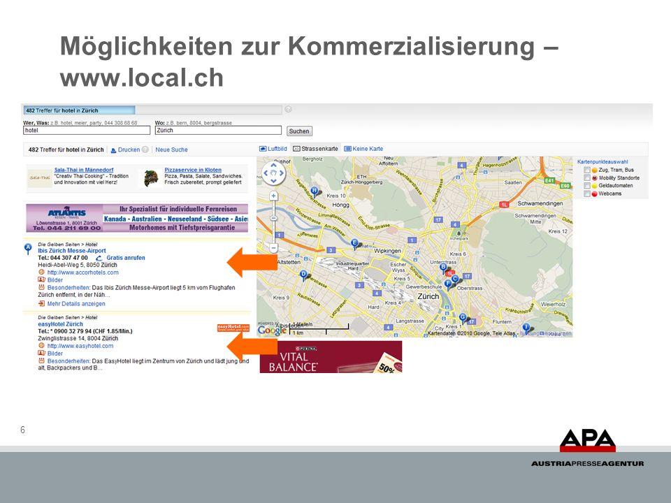 Möglichkeiten zur Kommerzialisierung – www.local.ch