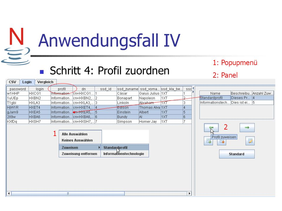 Anwendungsfall IV Schritt 4: Profil zuordnen 1: Popupmenü 2: Panel 2 1