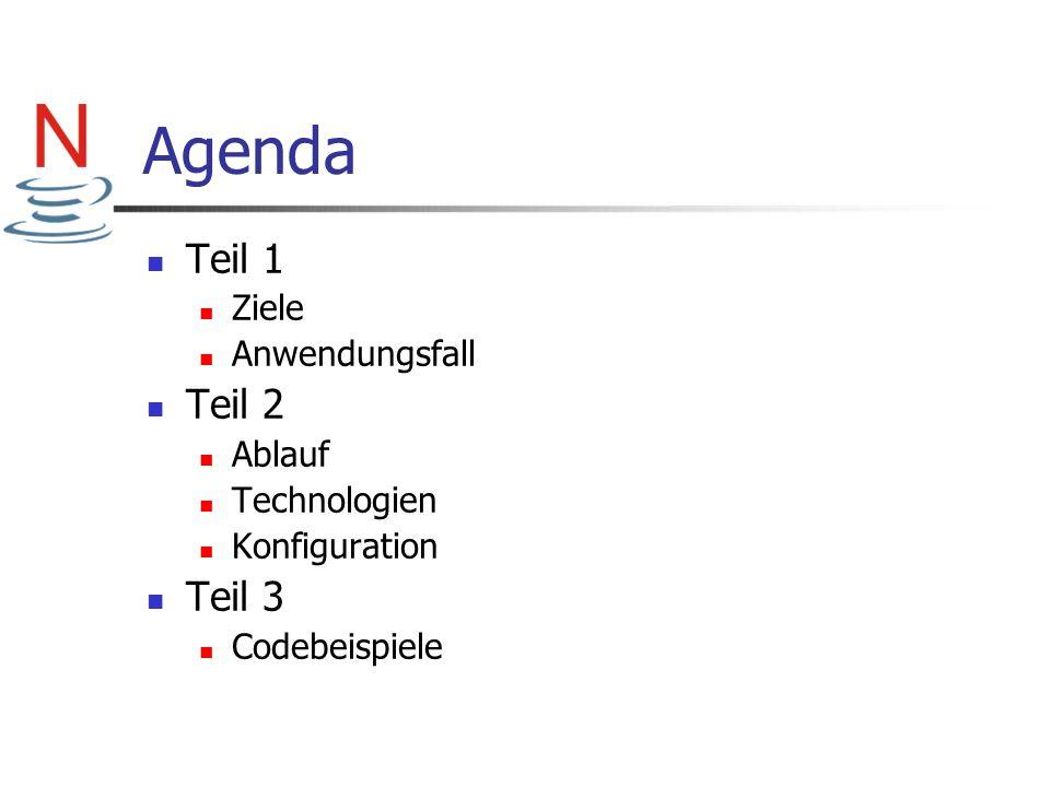 Agenda Teil 1 Teil 2 Teil 3 Ziele Anwendungsfall Ablauf Technologien