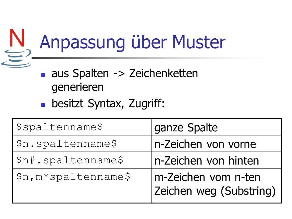 Anpassung über Muster aus Spalten -> Zeichenketten generieren