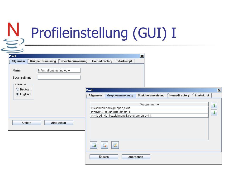 Profileinstellung (GUI) I