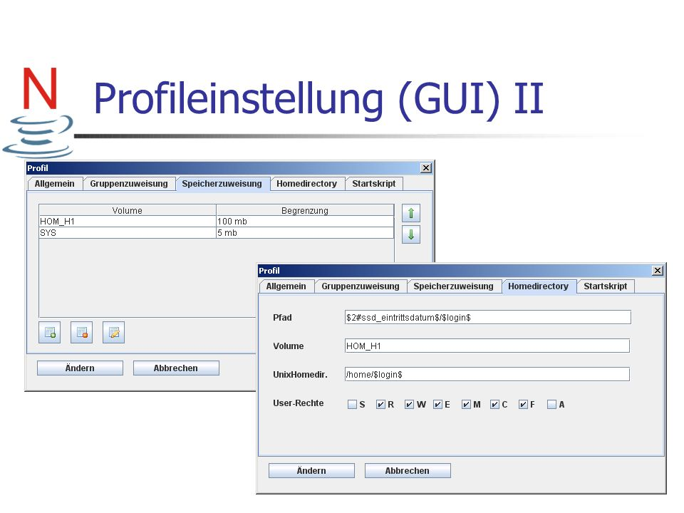 Profileinstellung (GUI) II