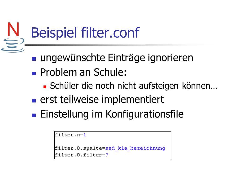 Beispiel filter.conf ungewünschte Einträge ignorieren