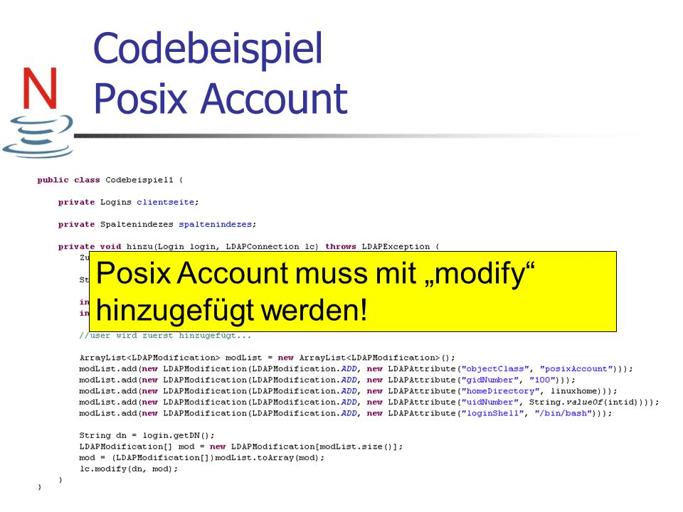 Codebeispiel Posix Account