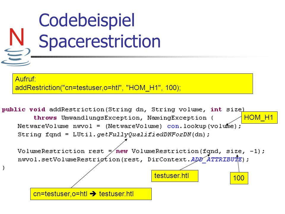 Codebeispiel Spacerestriction
