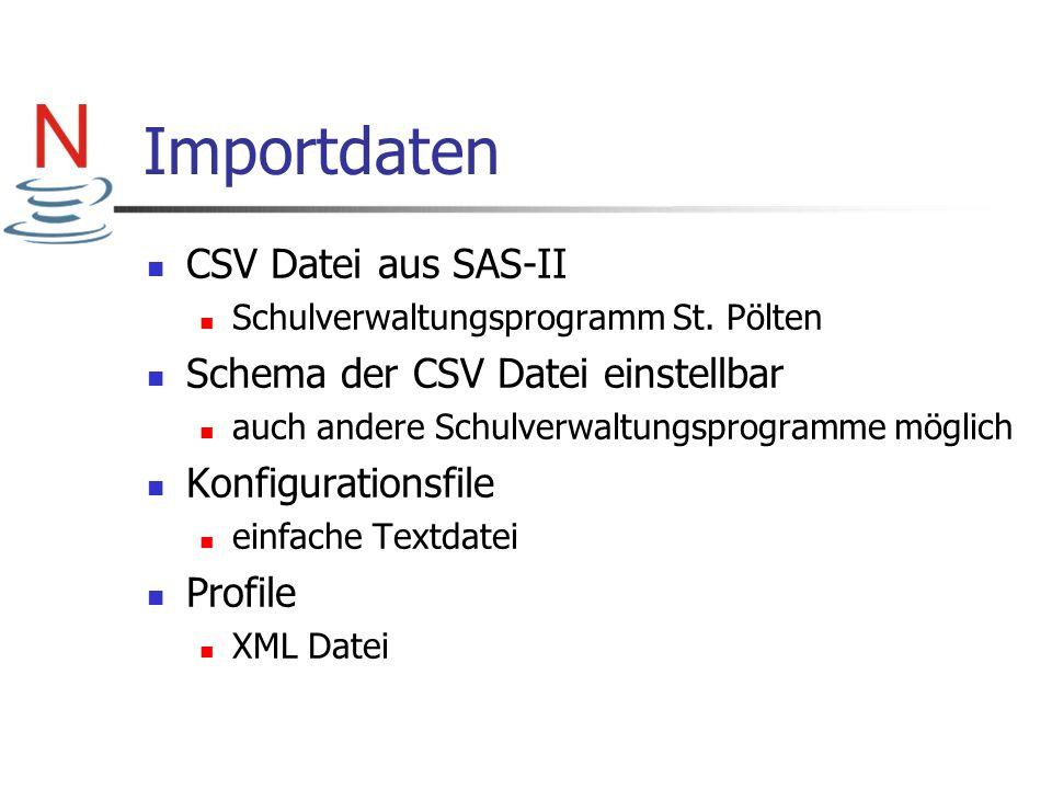 Importdaten CSV Datei aus SAS-II Schema der CSV Datei einstellbar