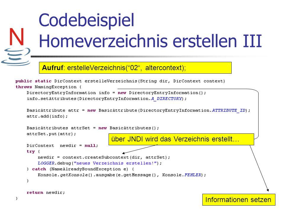 Codebeispiel Homeverzeichnis erstellen III