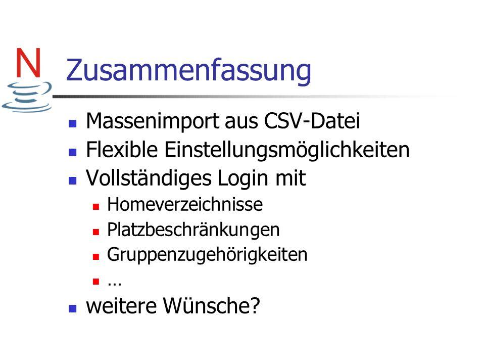 Zusammenfassung Massenimport aus CSV-Datei