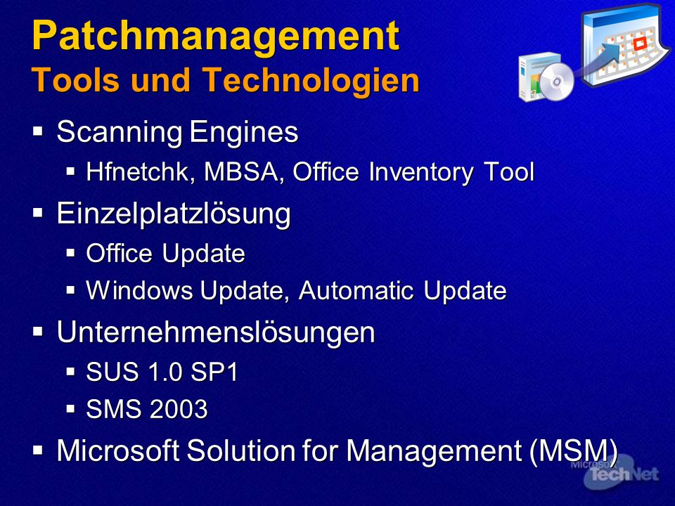 Patchmanagement Tools und Technologien
