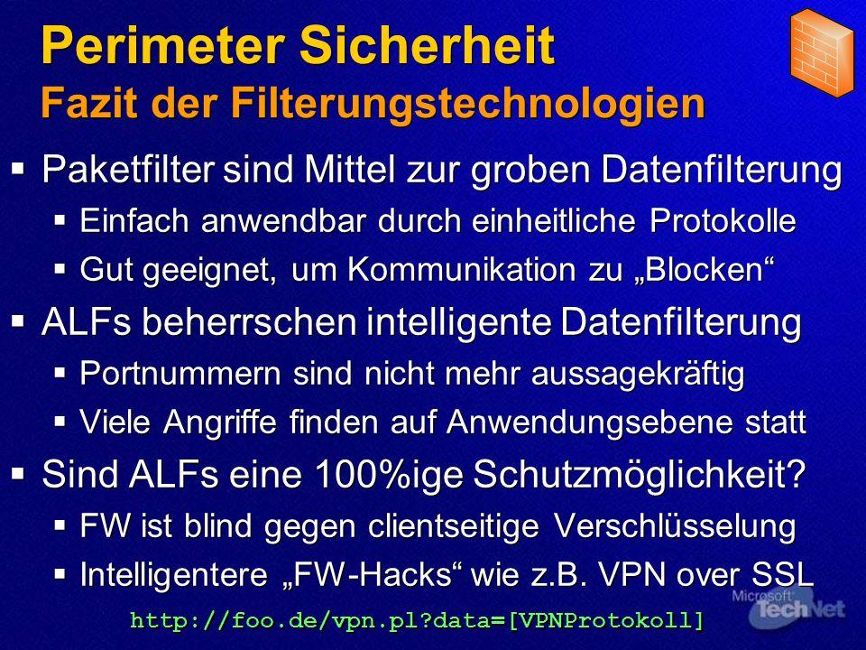 Perimeter Sicherheit Fazit der Filterungstechnologien