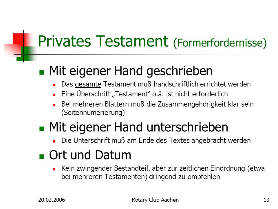 Privates Testament (Formerfordernisse)