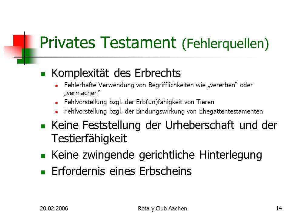Privates Testament (Fehlerquellen)
