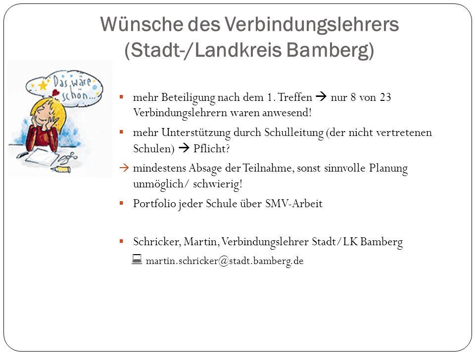 Wünsche des Verbindungslehrers (Stadt-/Landkreis Bamberg)