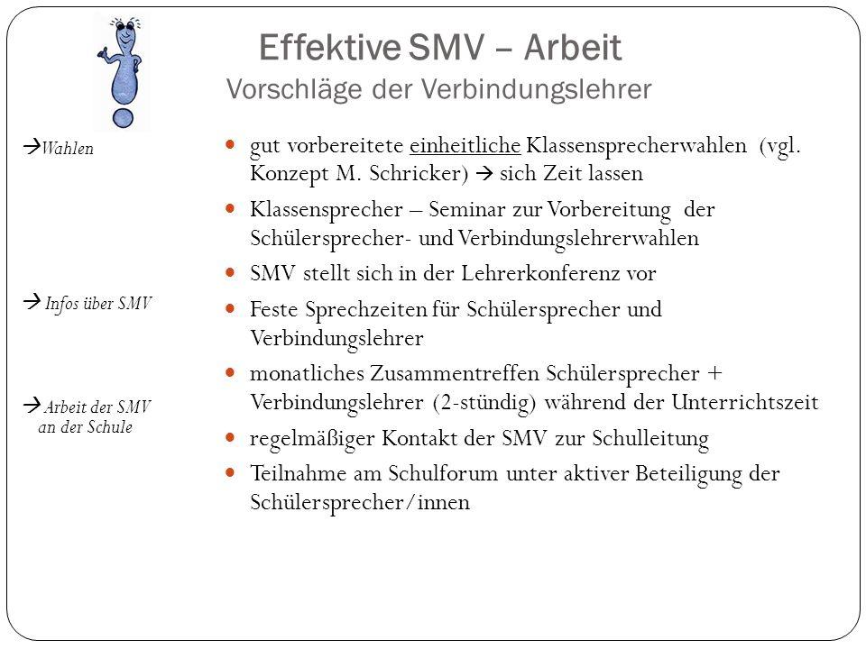 Effektive SMV – Arbeit Vorschläge der Verbindungslehrer