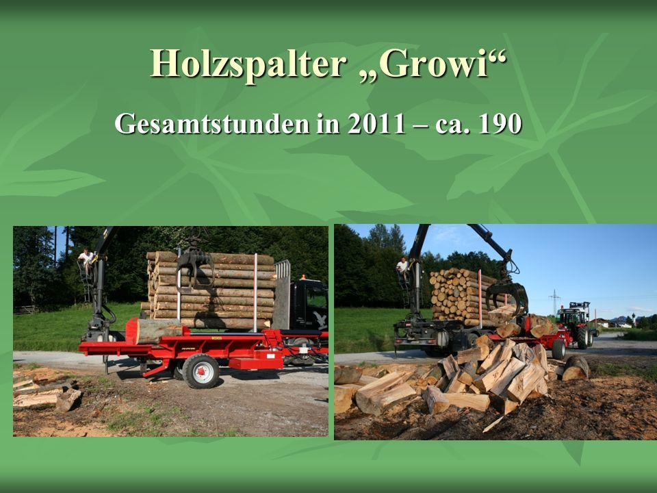 """Holzspalter """"Growi Gesamtstunden in 2011 – ca. 190"""