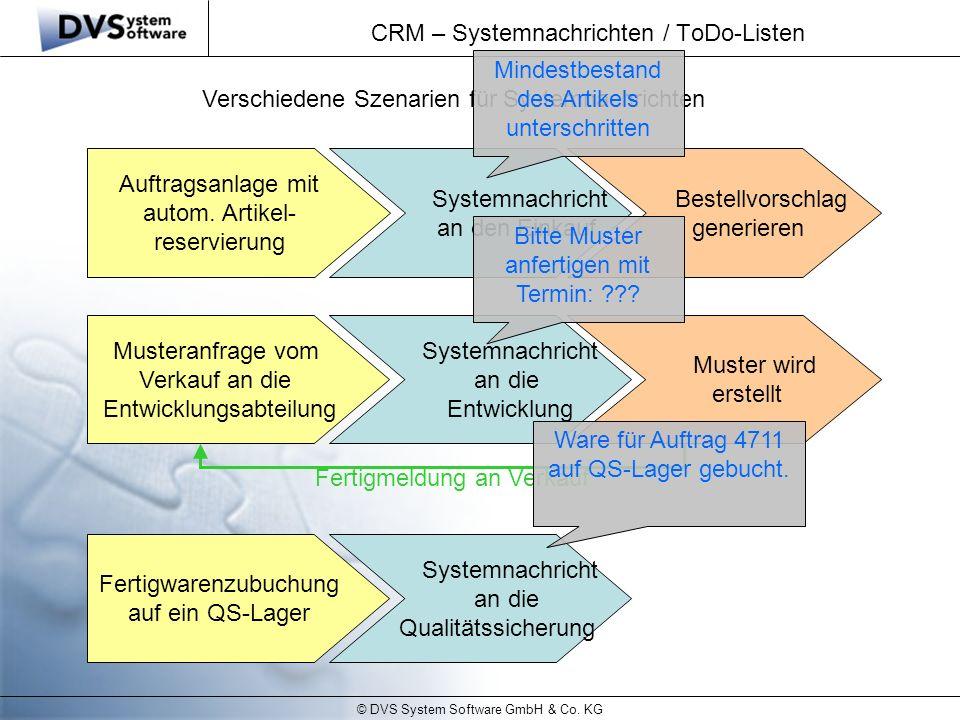 CRM – Systemnachrichten / ToDo-Listen