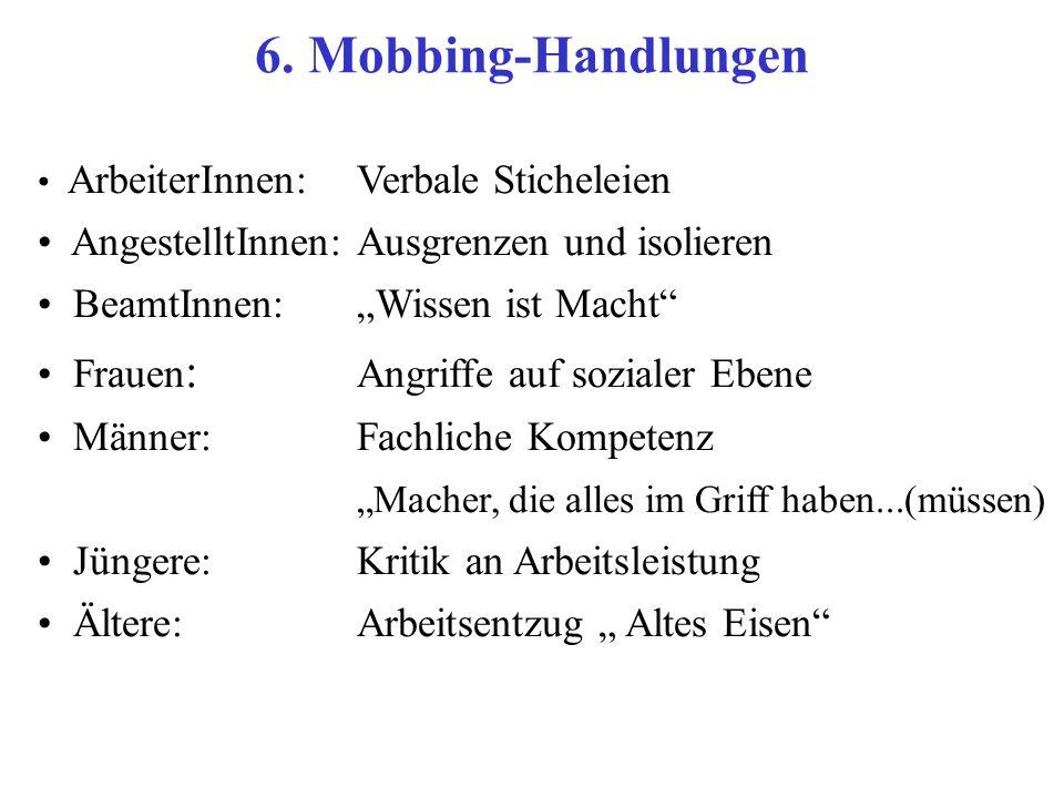 6. Mobbing-Handlungen AngestelltInnen: Ausgrenzen und isolieren