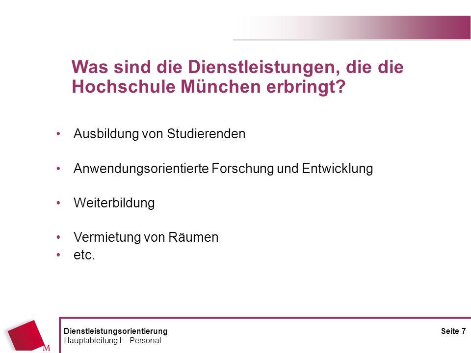 Was sind die Dienstleistungen, die die Hochschule München erbringt