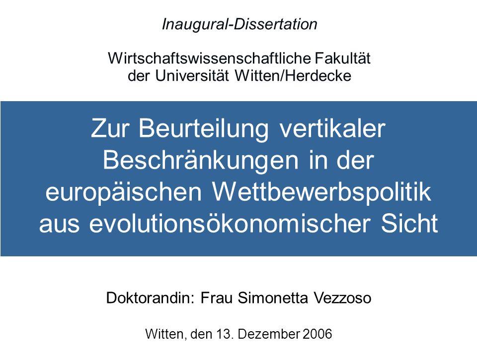 Doktorandin: Frau Simonetta Vezzoso Witten, den 13. Dezember 2006