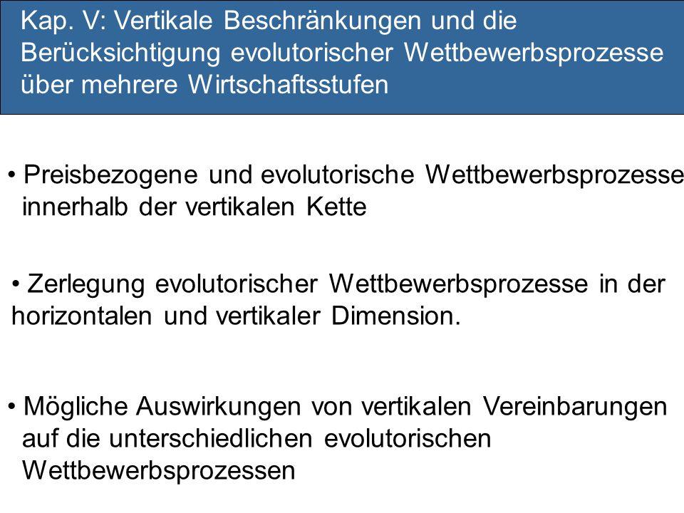 Kap. V: Vertikale Beschränkungen und die Berücksichtigung evolutorischer Wettbewerbsprozesse über mehrere Wirtschaftsstufen
