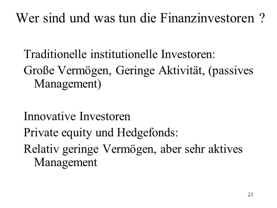 Wer sind und was tun die Finanzinvestoren