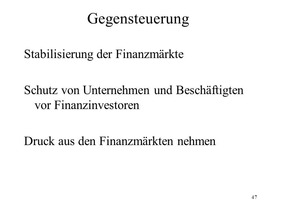 Gegensteuerung Stabilisierung der Finanzmärkte