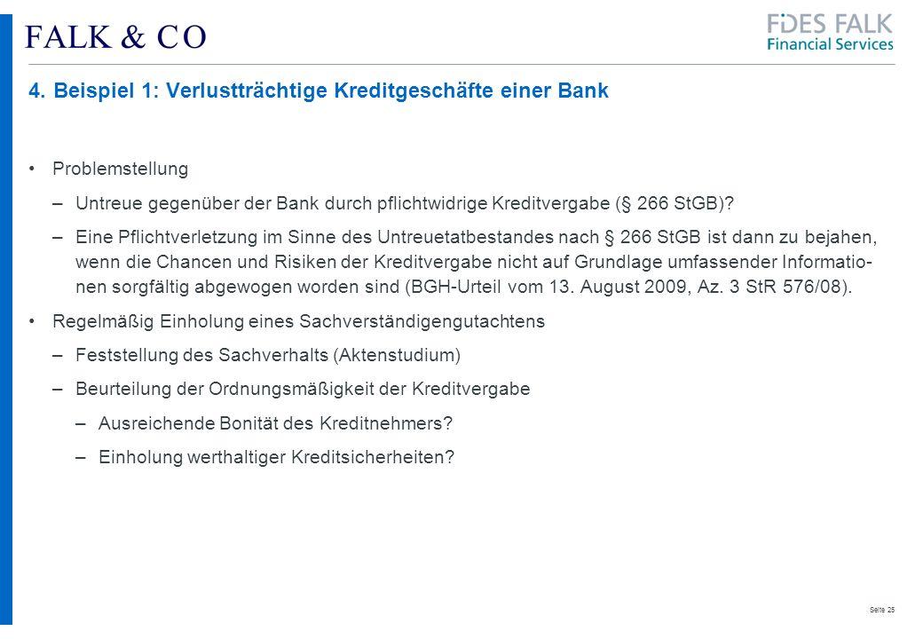 4. Beispiel 1: Verlustträchtige Kreditgeschäfte einer Bank