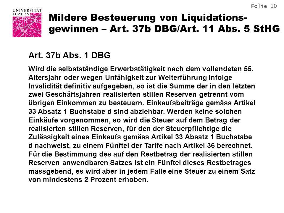 Mildere Besteuerung von Liquidations-gewinnen – Art. 37b DBG/Art