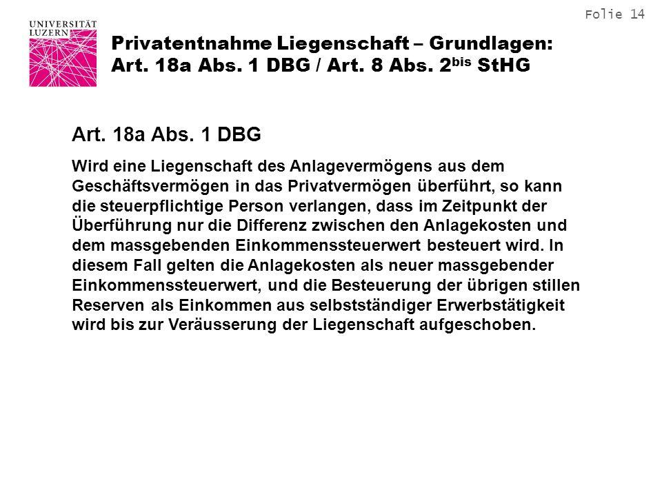 Privatentnahme Liegenschaft – Grundlagen: Art. 18a Abs. 1 DBG / Art