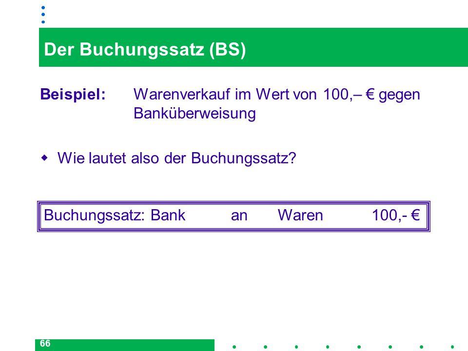 Der Buchungssatz (BS) Beispiel: Warenverkauf im Wert von 100,– € gegen Banküberweisung. Wie lautet also der Buchungssatz