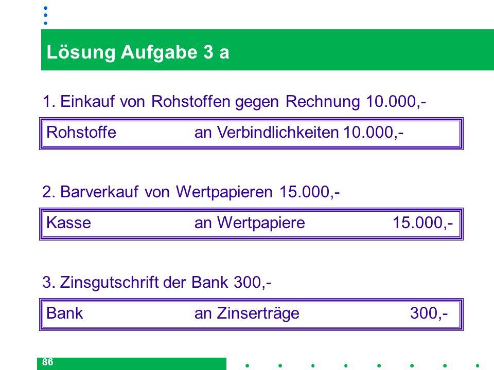 Lösung Aufgabe 3 a 1. Einkauf von Rohstoffen gegen Rechnung 10.000,-