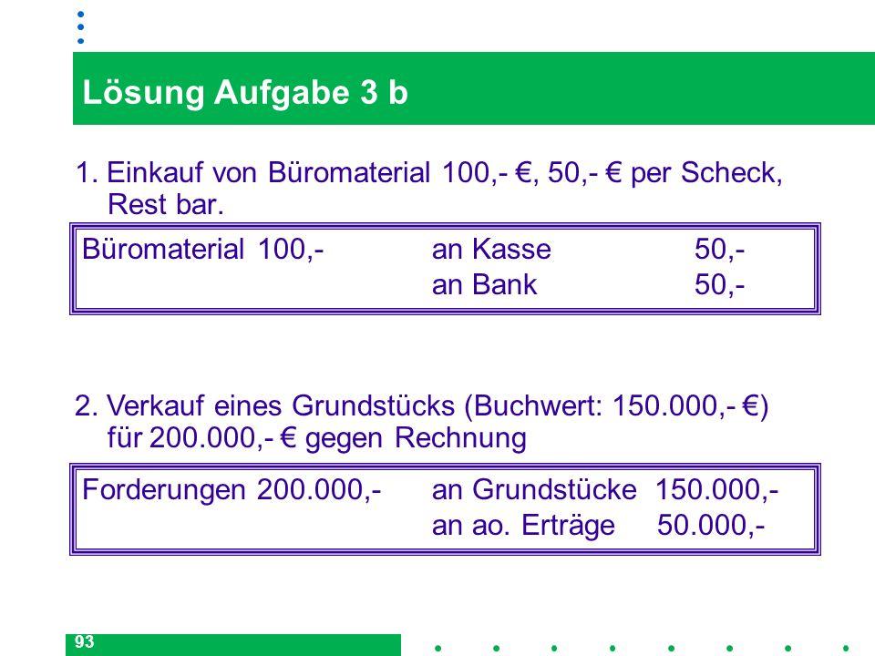 Lösung Aufgabe 3 b1. Einkauf von Büromaterial 100,- €, 50,- € per Scheck, Rest bar. Büromaterial 100,- an Kasse 50,-