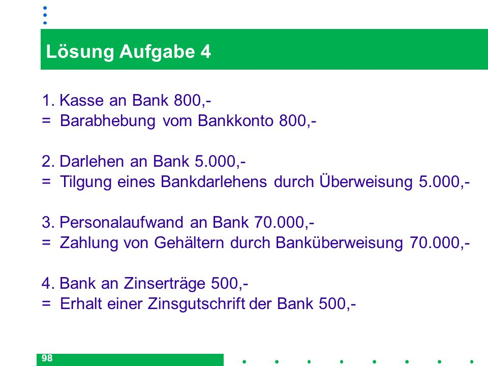 Lösung Aufgabe 4 1. Kasse an Bank 800,-