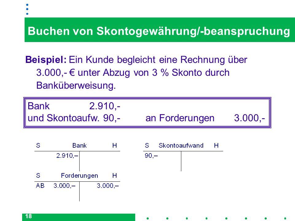 Buchen von Skontogewährung/-beanspruchung