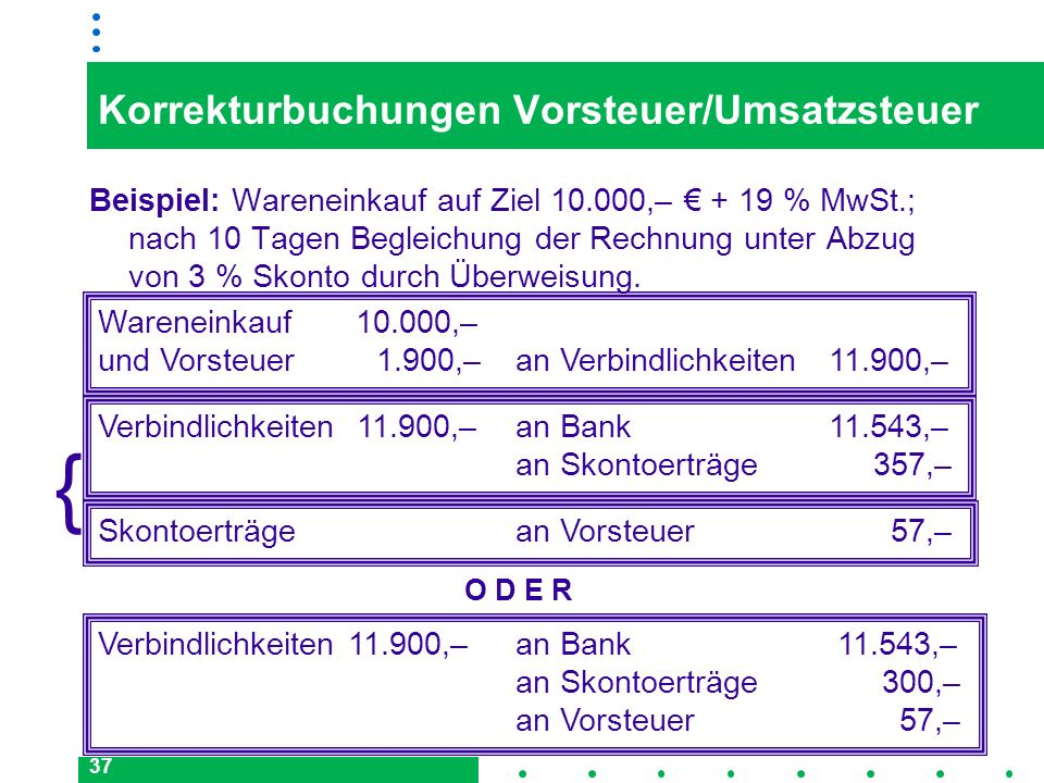 Korrekturbuchungen Vorsteuer/Umsatzsteuer